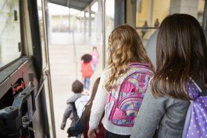 Bus verts et bus scolaires